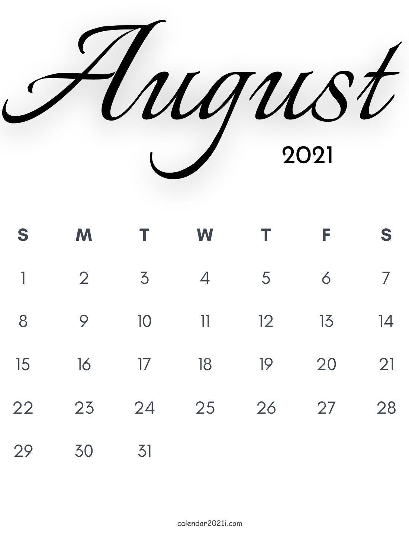 Pick Cute 2021 August Calender