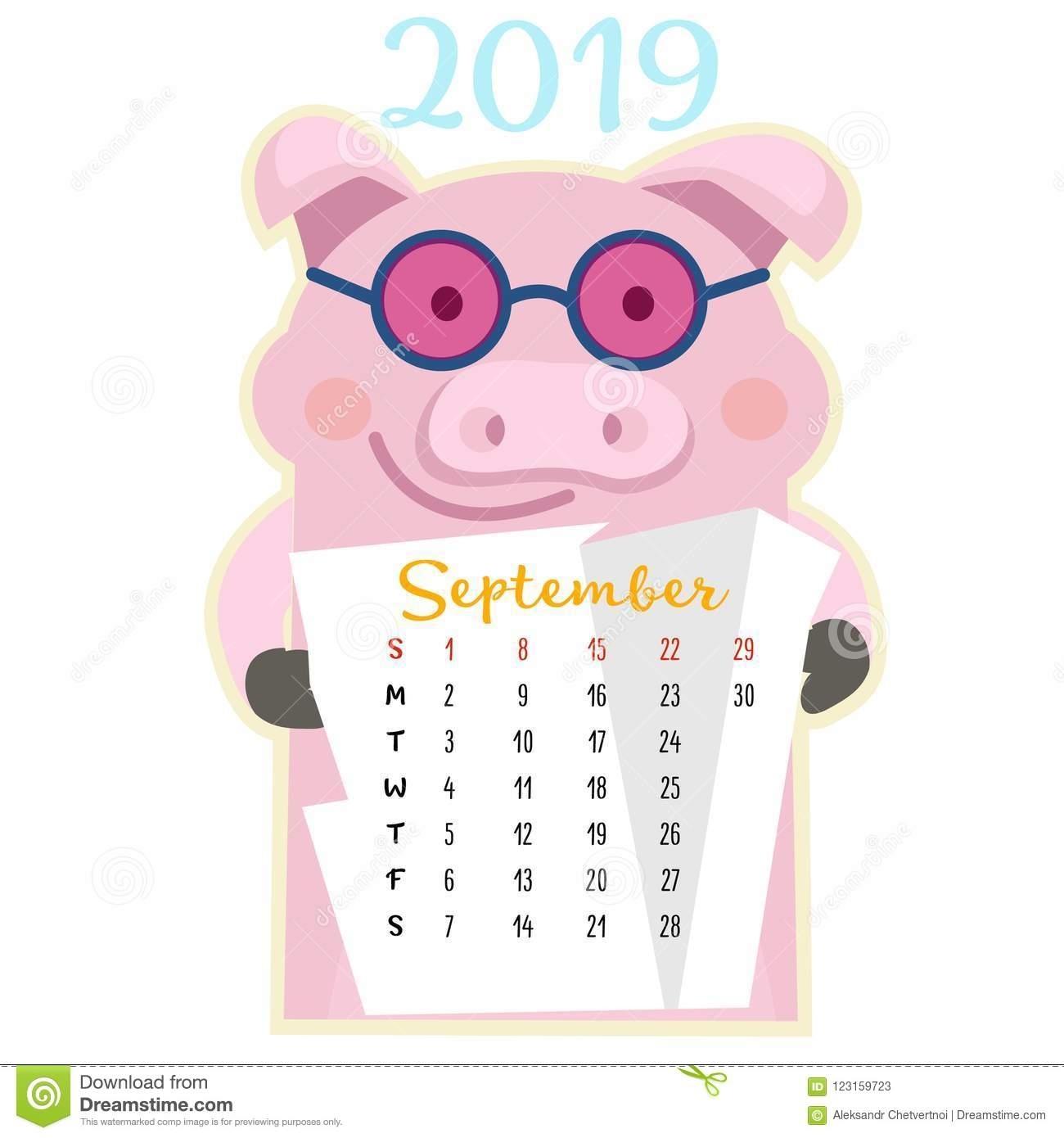 Pick Cute August 2021 Pig Calendar Printable
