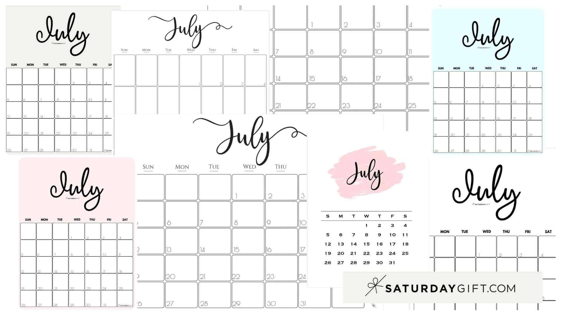 Pick Cute Free Printable Calenxdar July