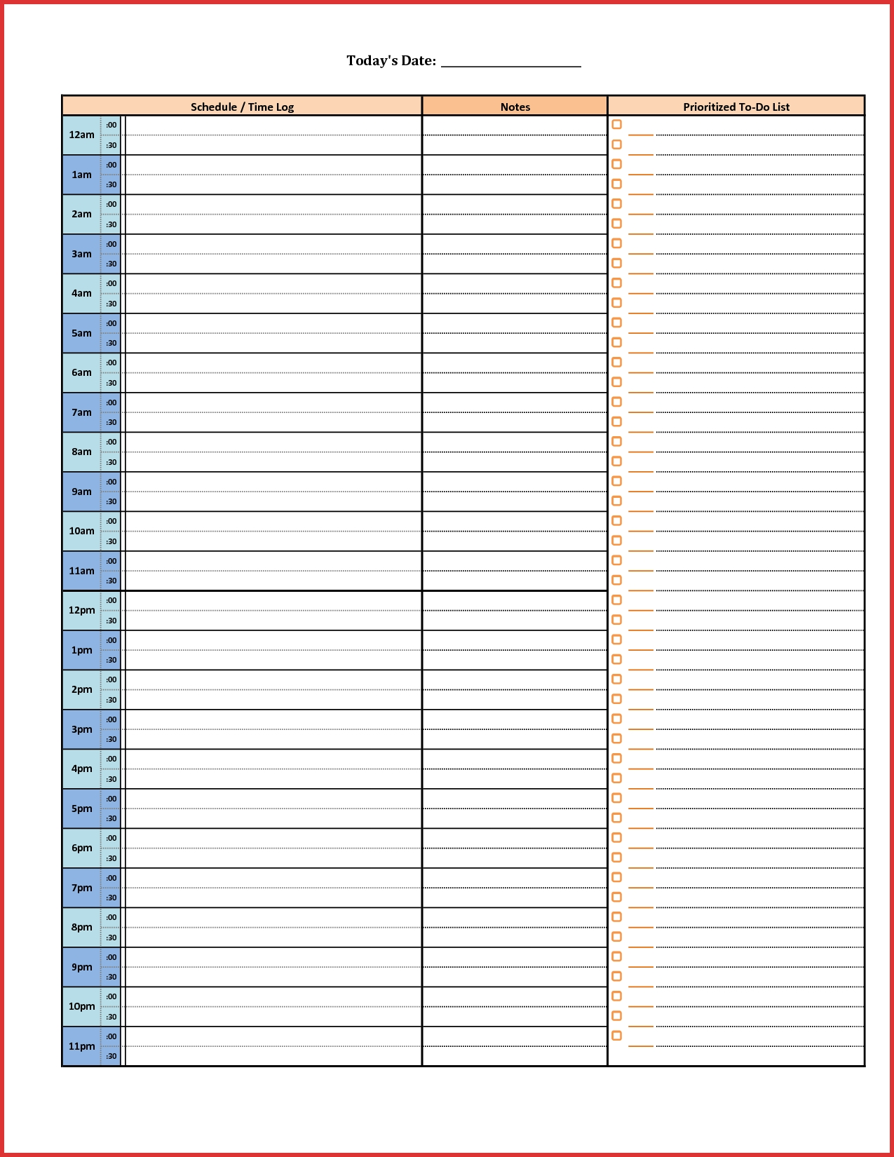 Pick Daily Half Hour Schedule Templates