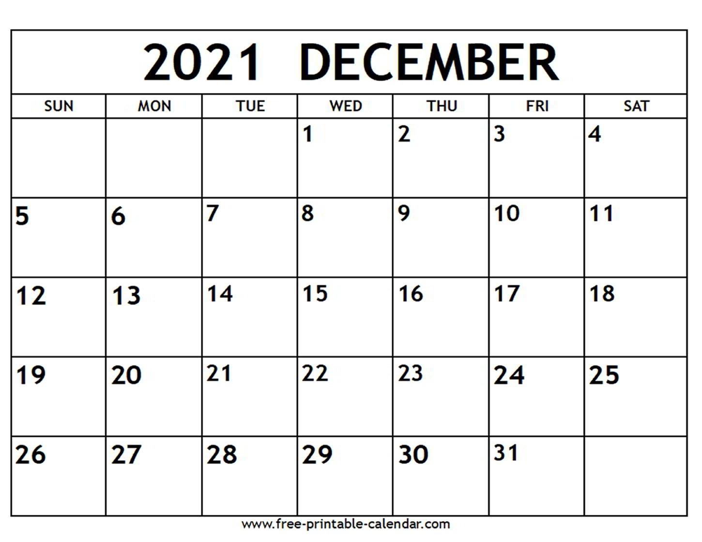 Pick December 2021 Blank Calander