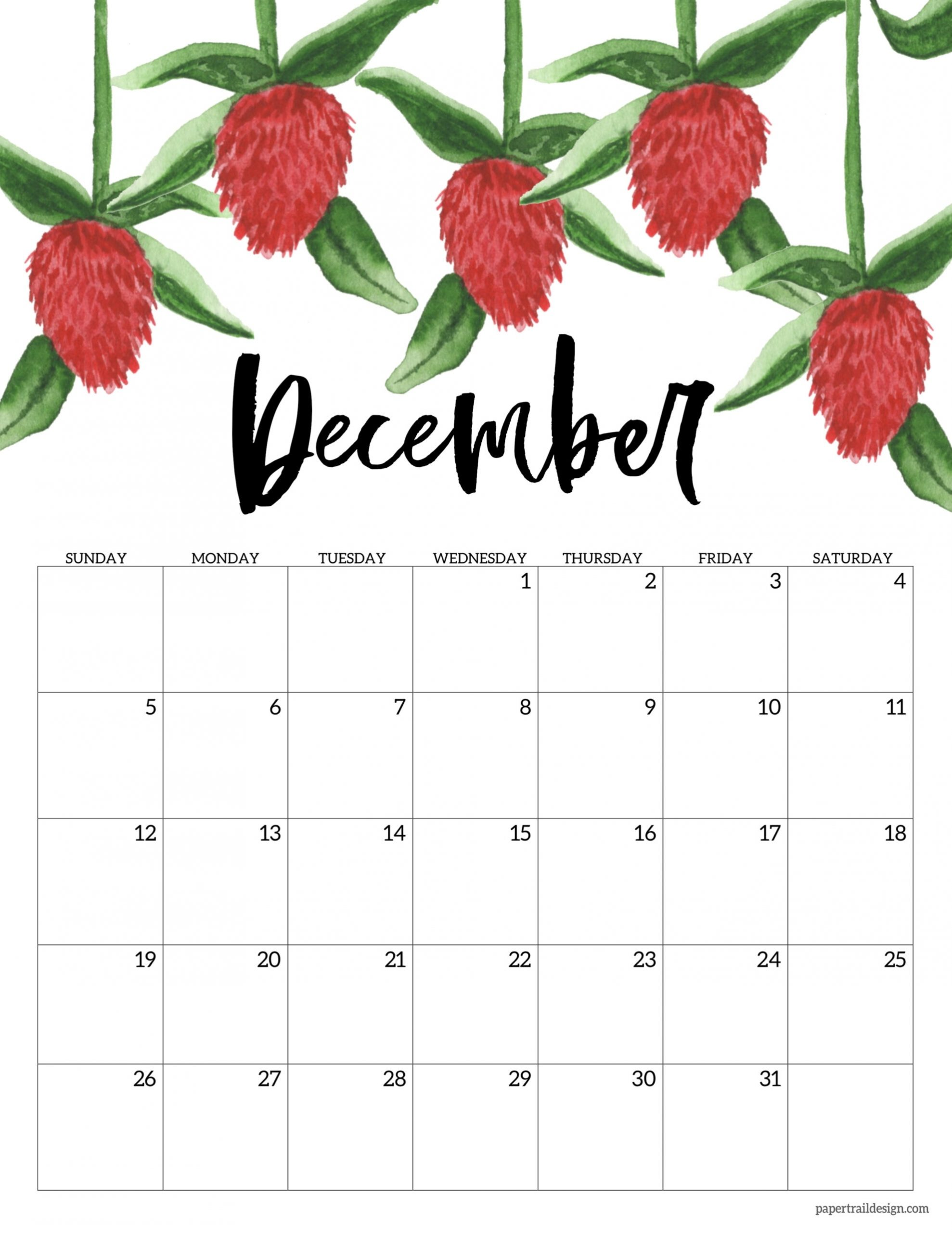 Pick December Calendar Page 2021