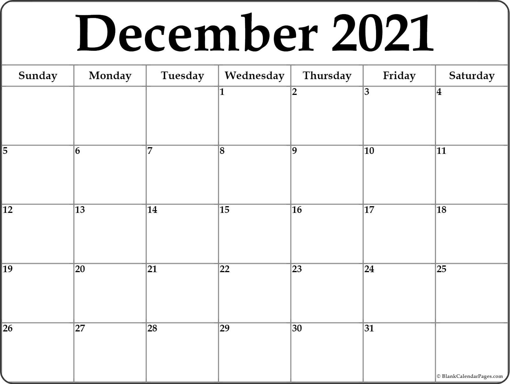 Pick December Christmas 2021 Calendar Template