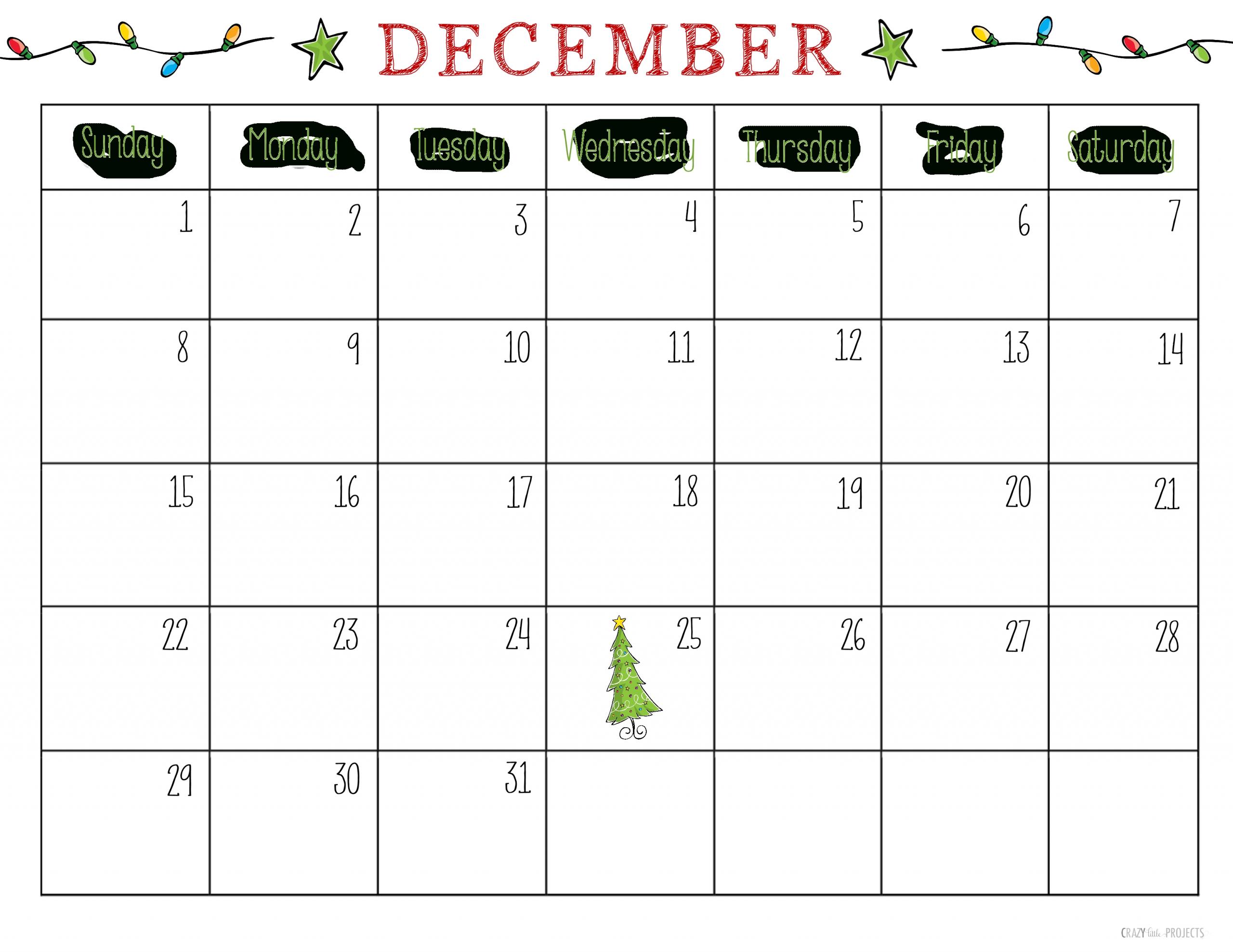 Pick December Christmas Calendar Printable