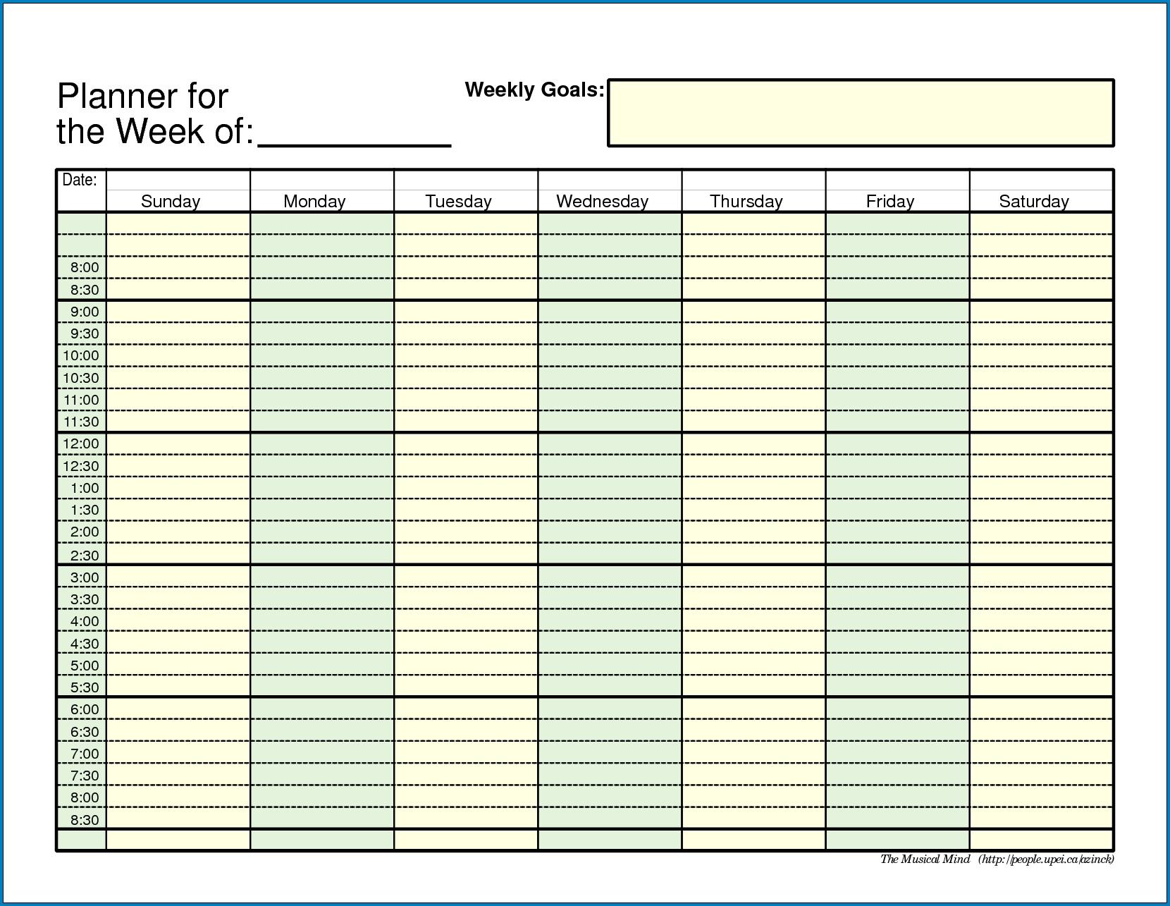 Pick Employee Daily Week Worksheet Template