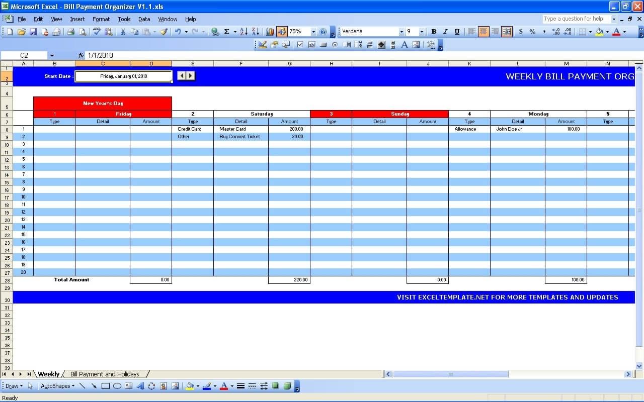 Pick Excel Bill Roganizer