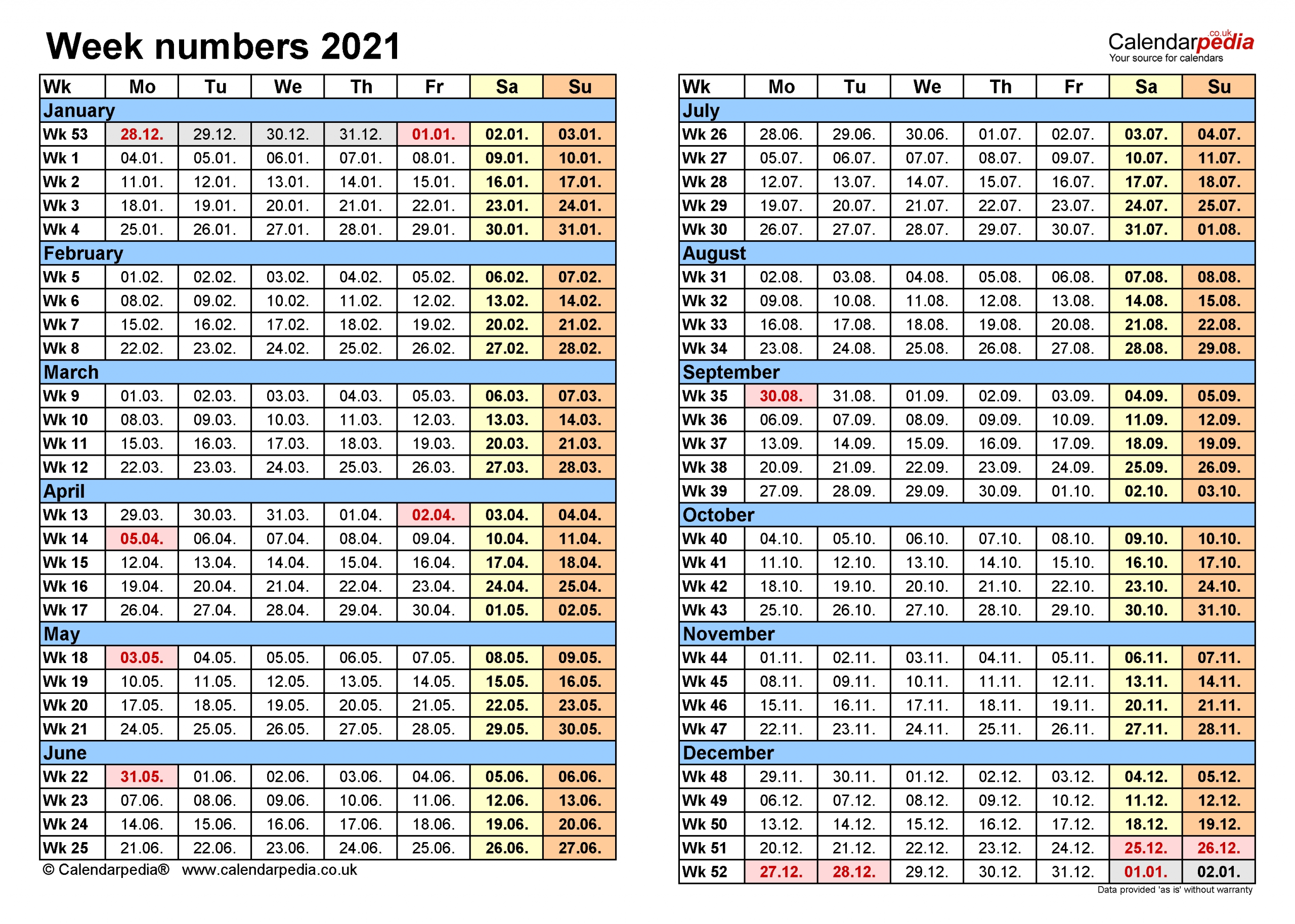 Pick Excel Calendar With Week Numbers 2021