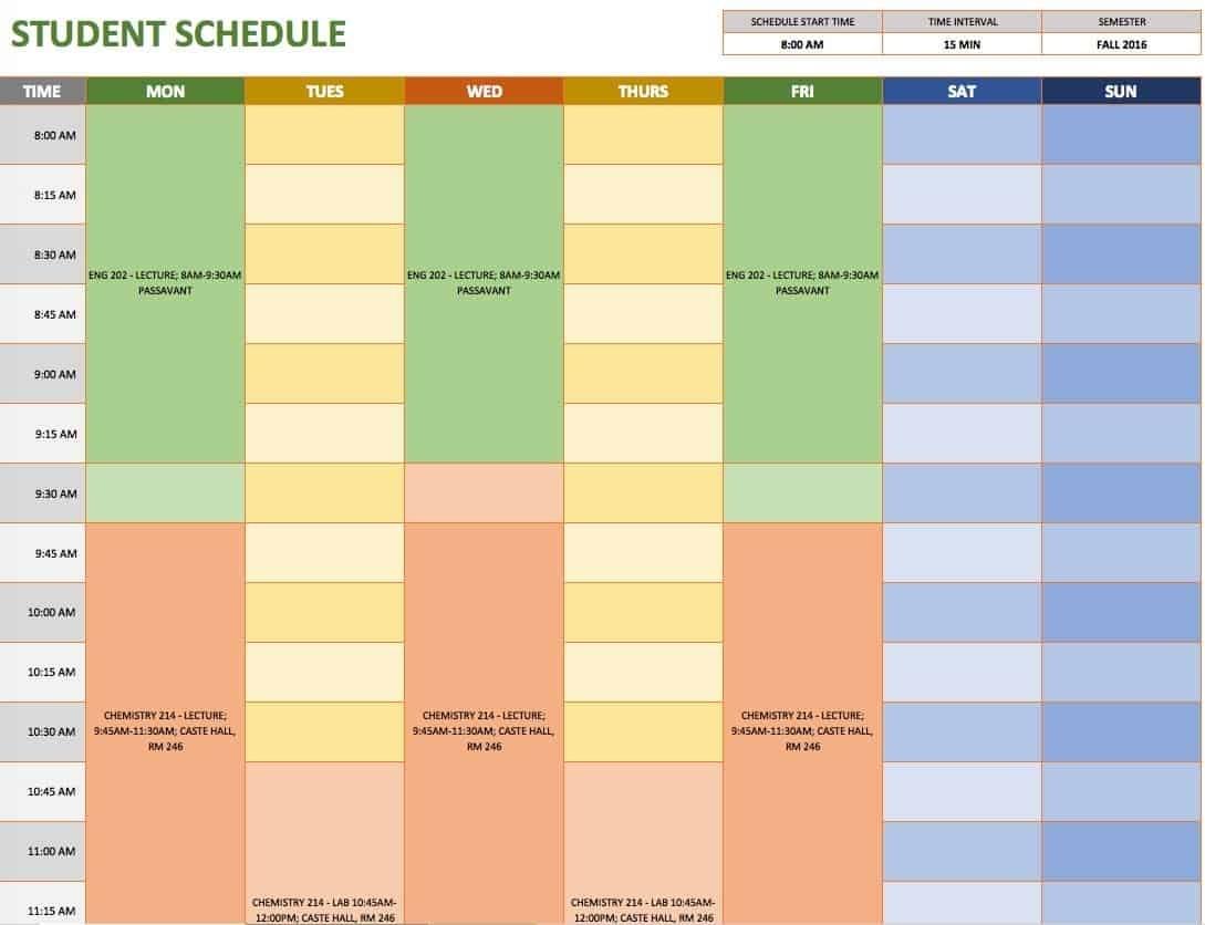 Pick Excel Schedule Tempalte 15 Min