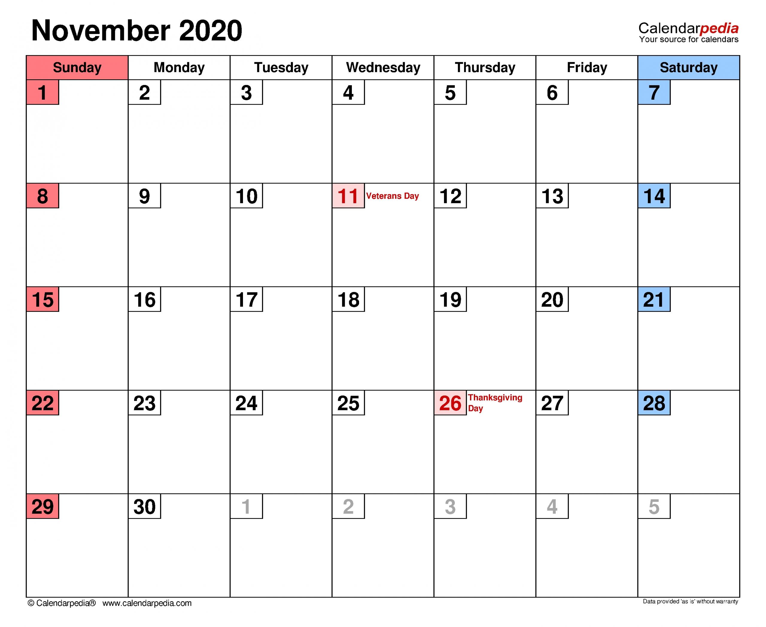 Pick Festive November Calendar Blank