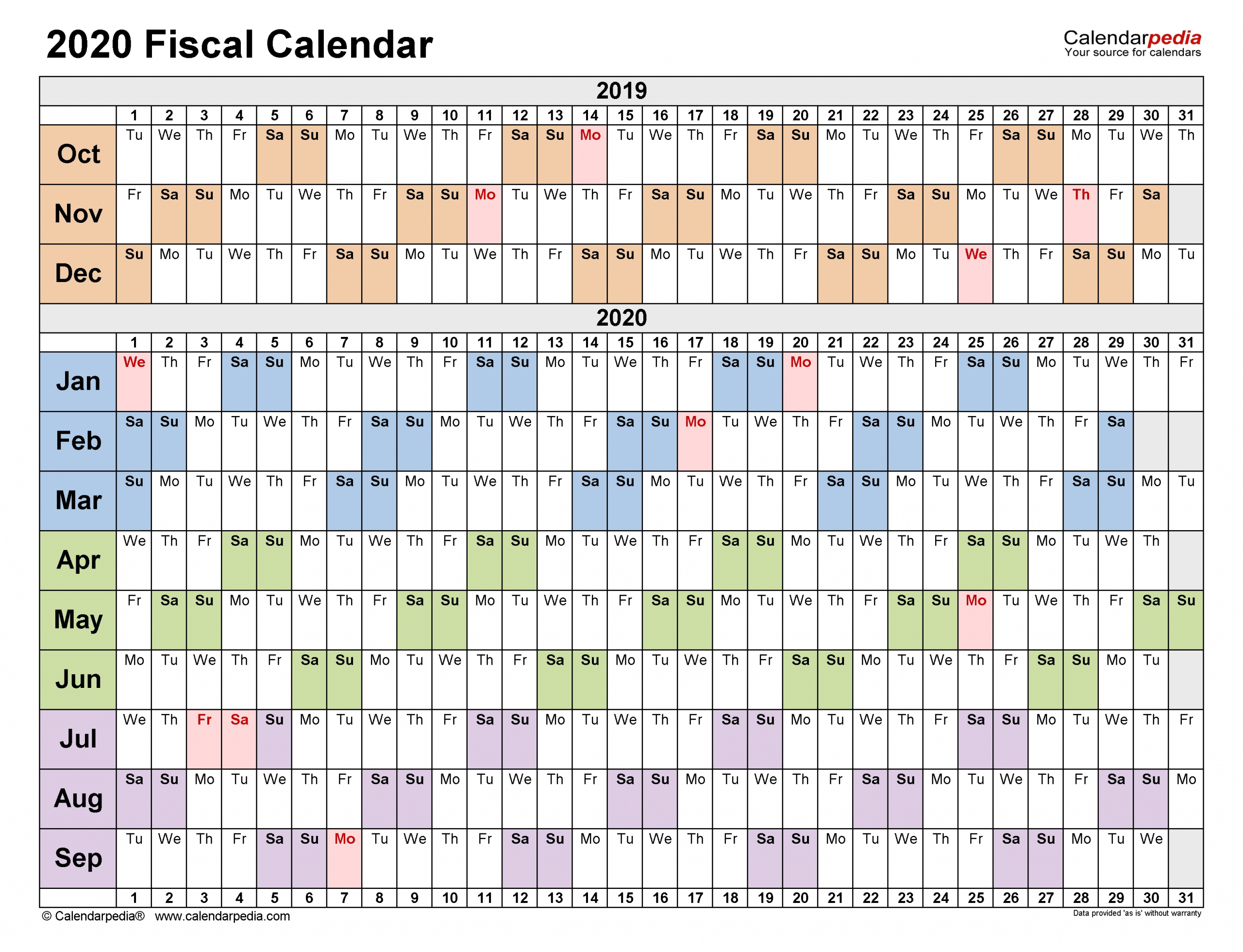 Pick Financial Week Calendar