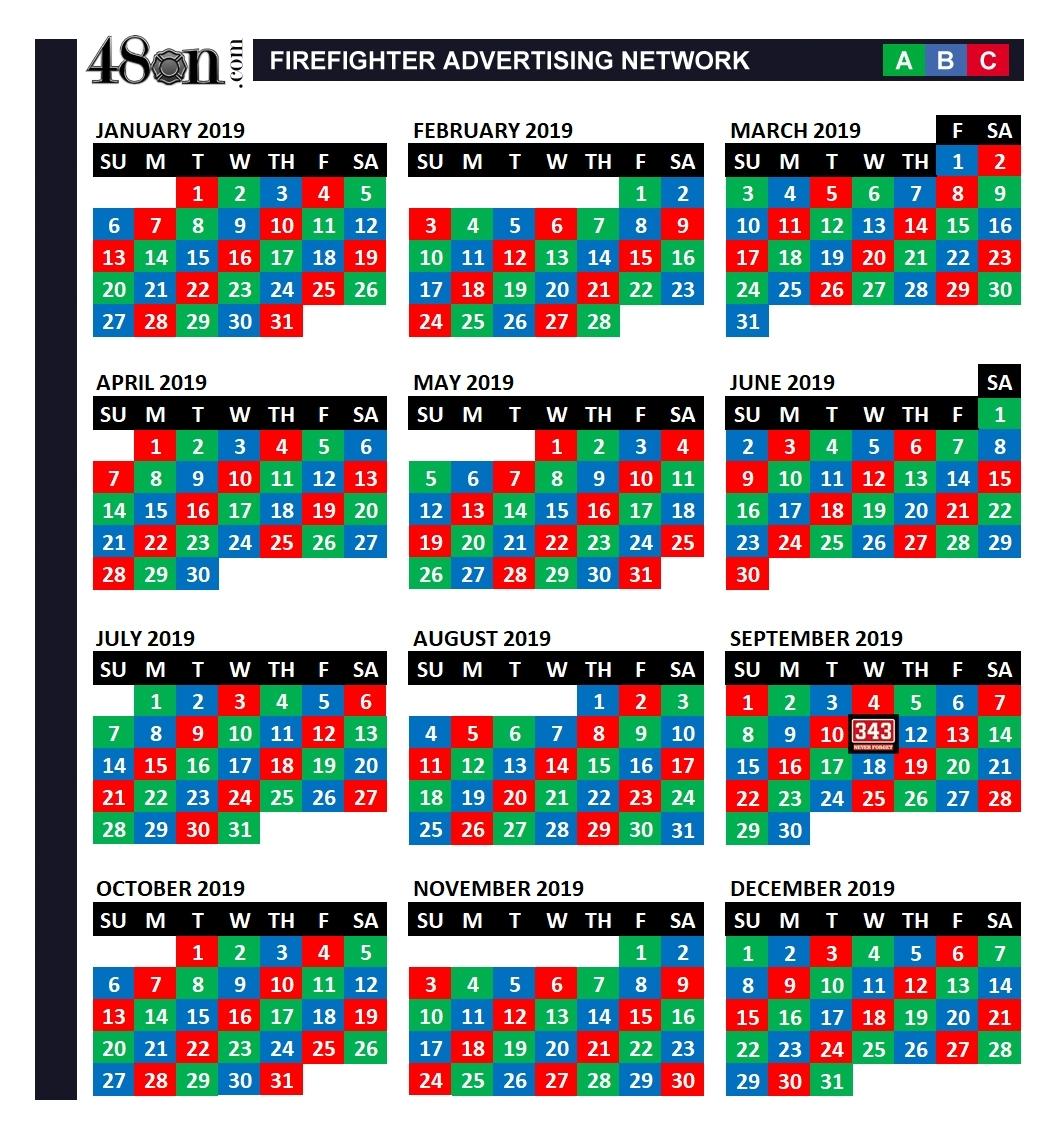 Pick Fire Department Calendar 24/48 Shift