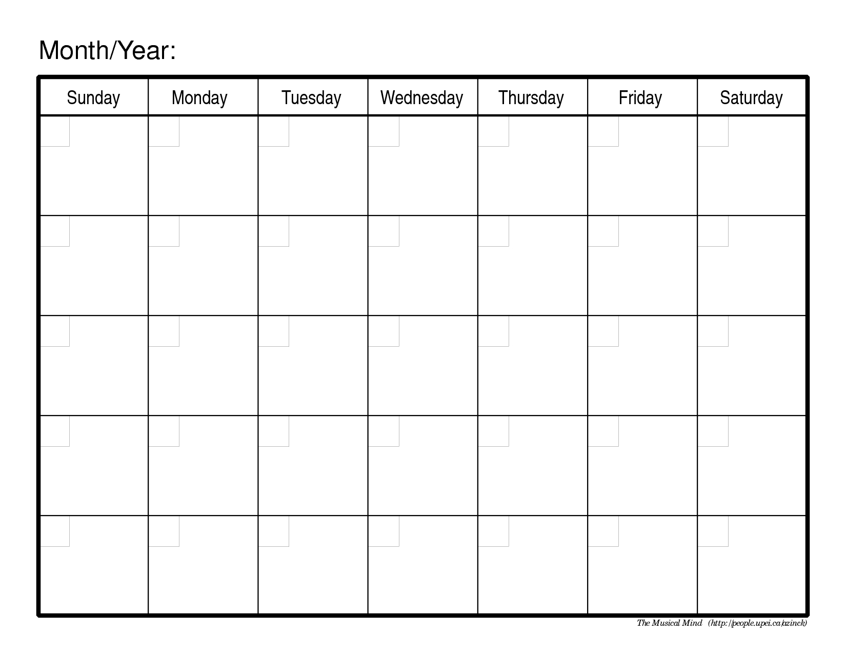 Pick Free Blank Printable Monthly Calendar