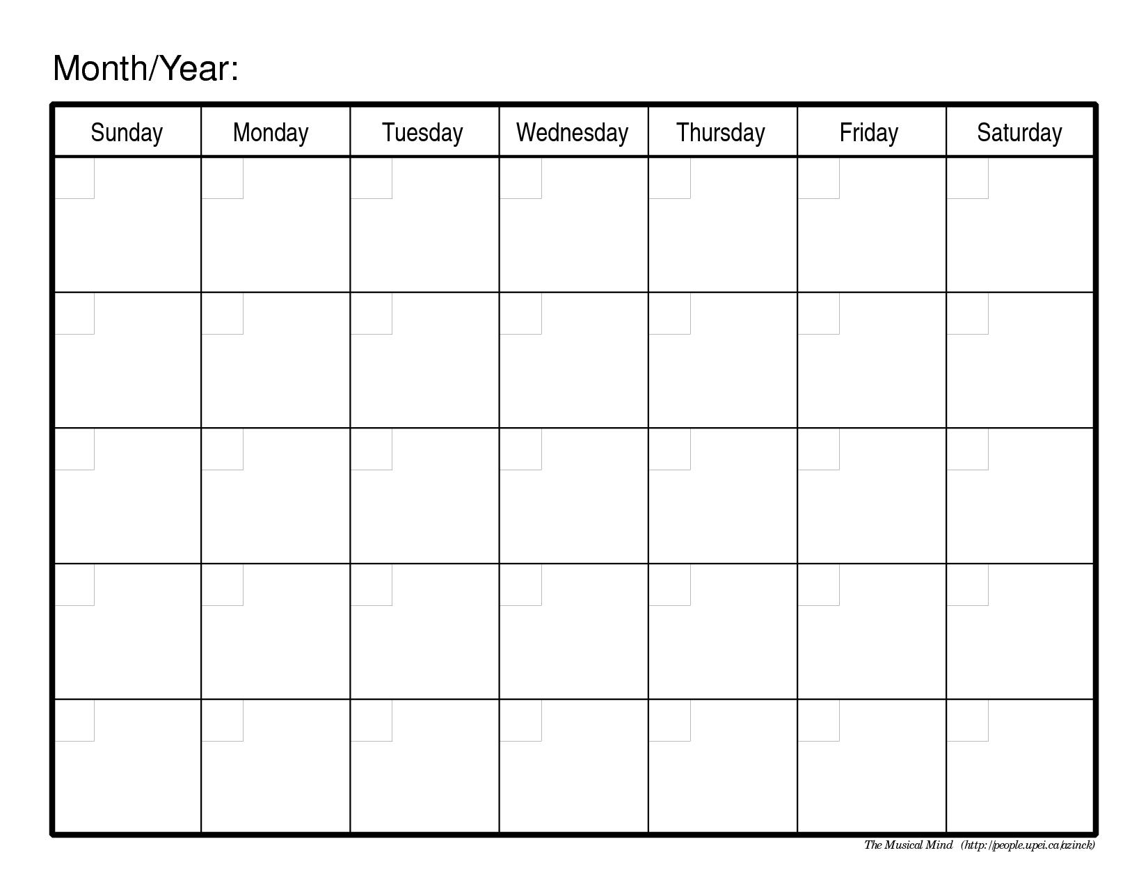 Pick Free Blank Printable Monthly Calendar