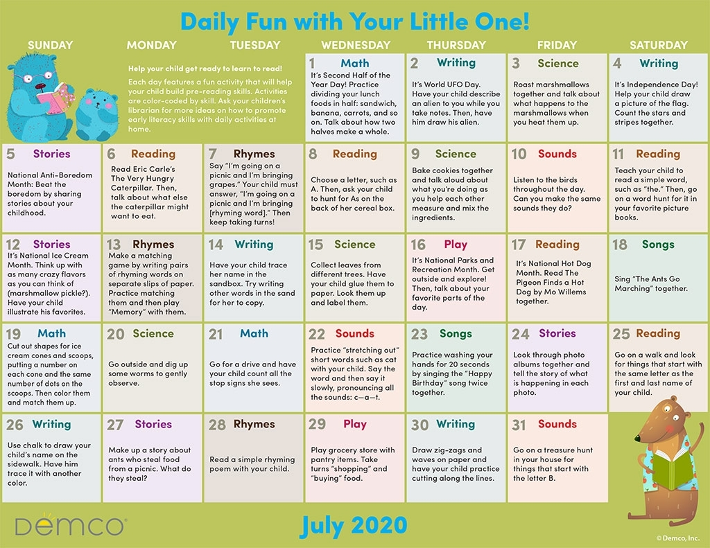 Pick Free Monthly Activities Calendar