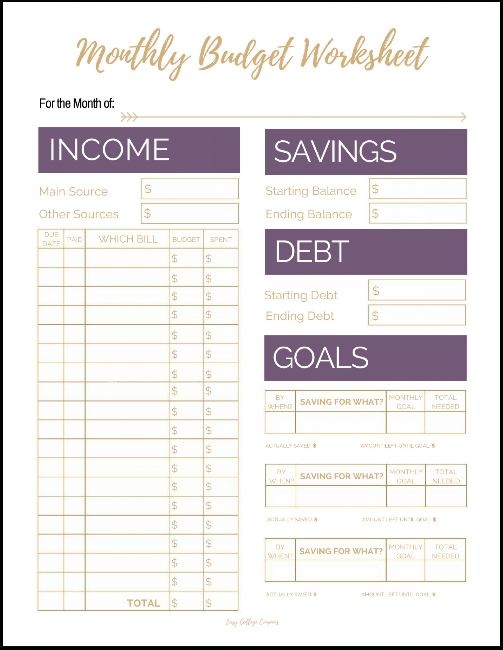 Pick Free Monthly Budget