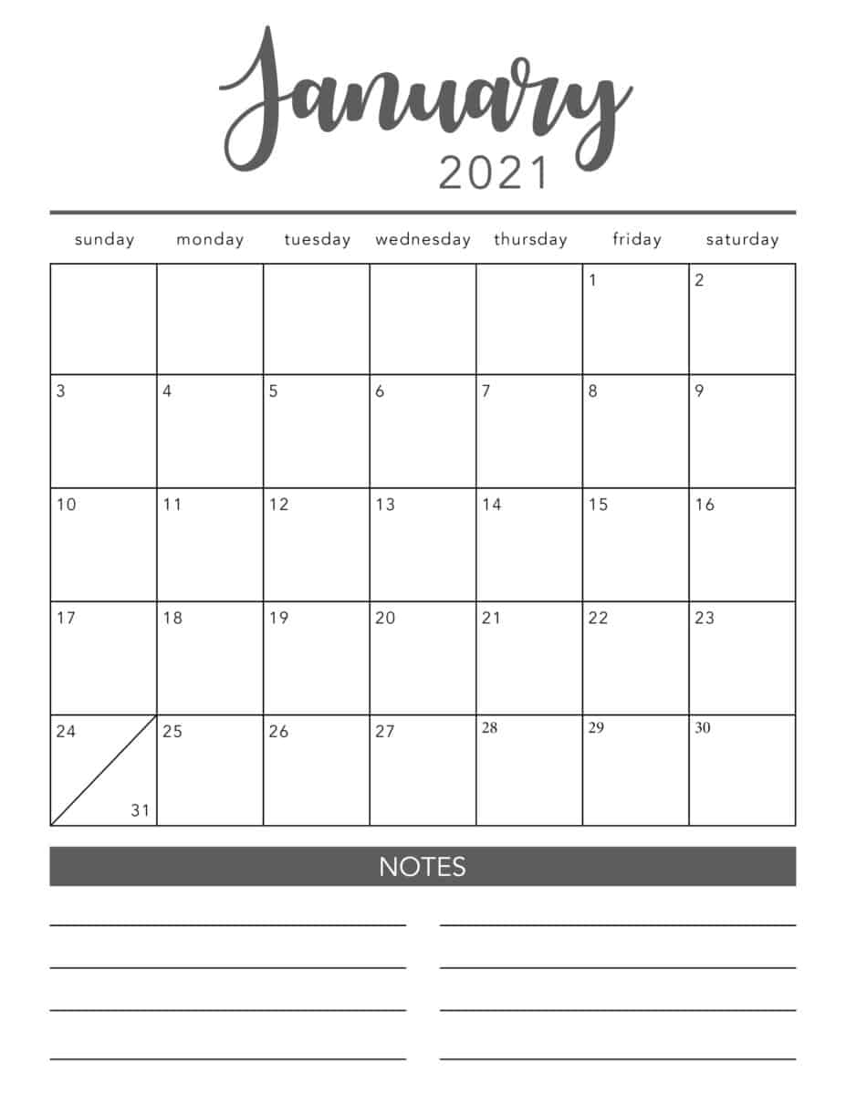 Pick Free Monthly Printable Calendar 2021
