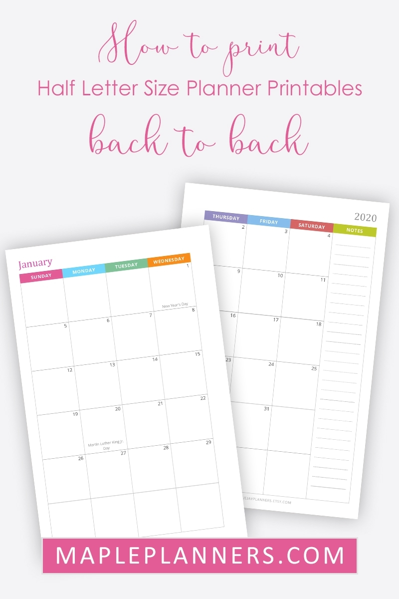 Pick Free Online 5.5X8.5 Planner Pages