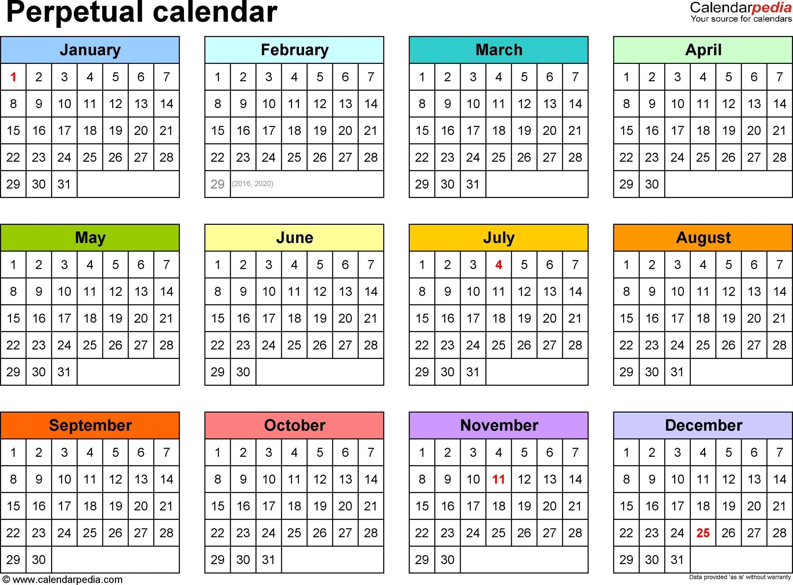 Pick Free Printable Blank Perpetual Calendars