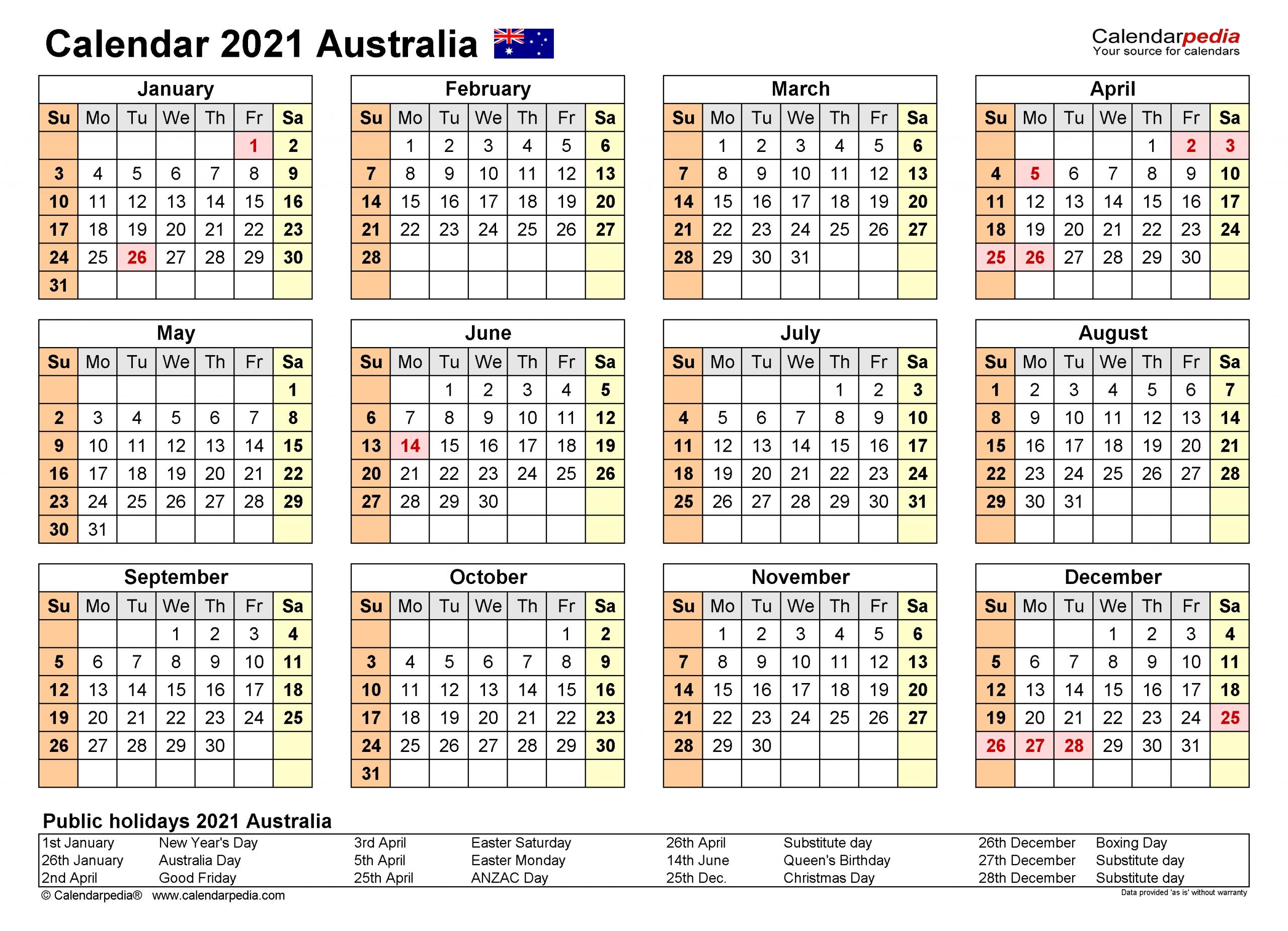 Pick Free Printable Calendar 2021 Australia