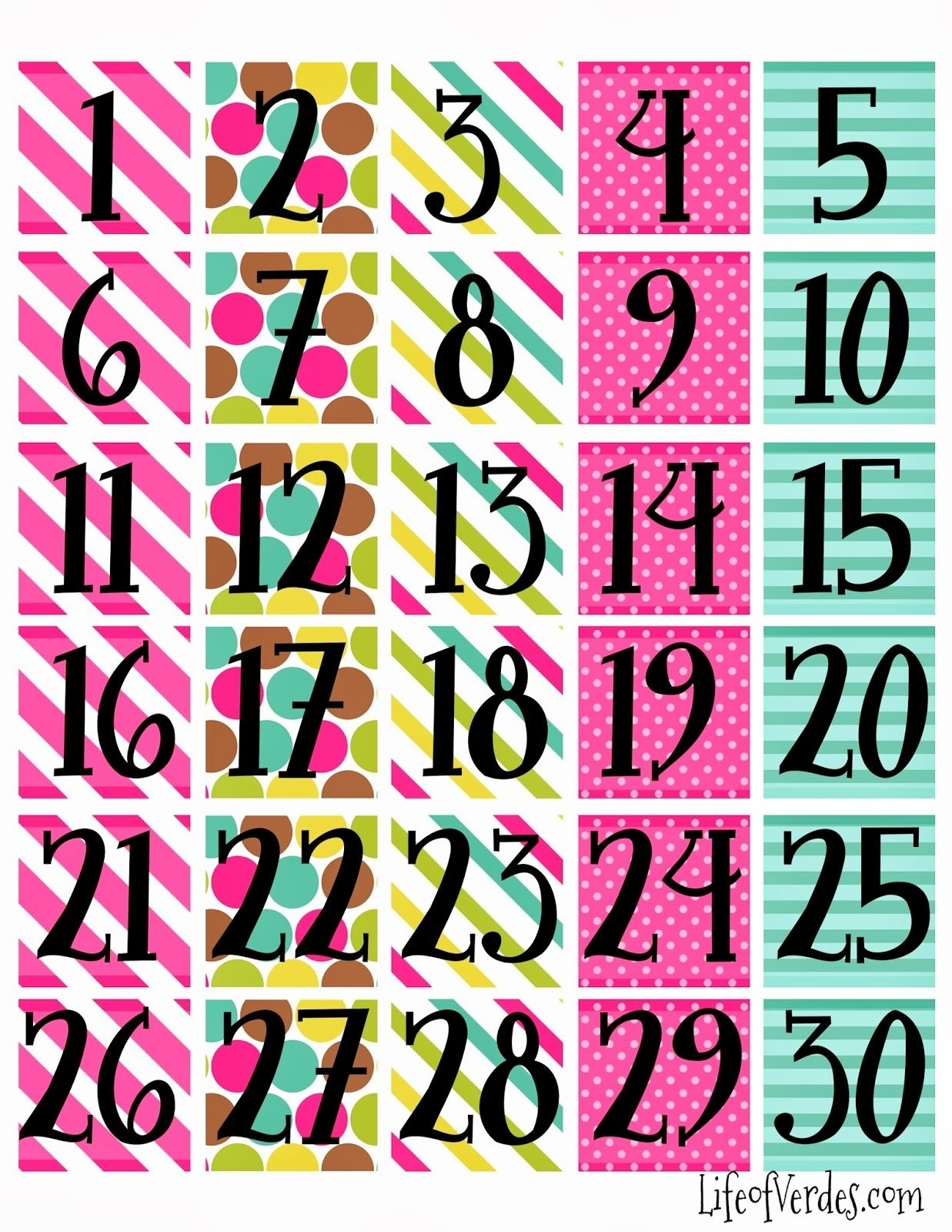Pick Free Printable Calendar Numbers 1 31
