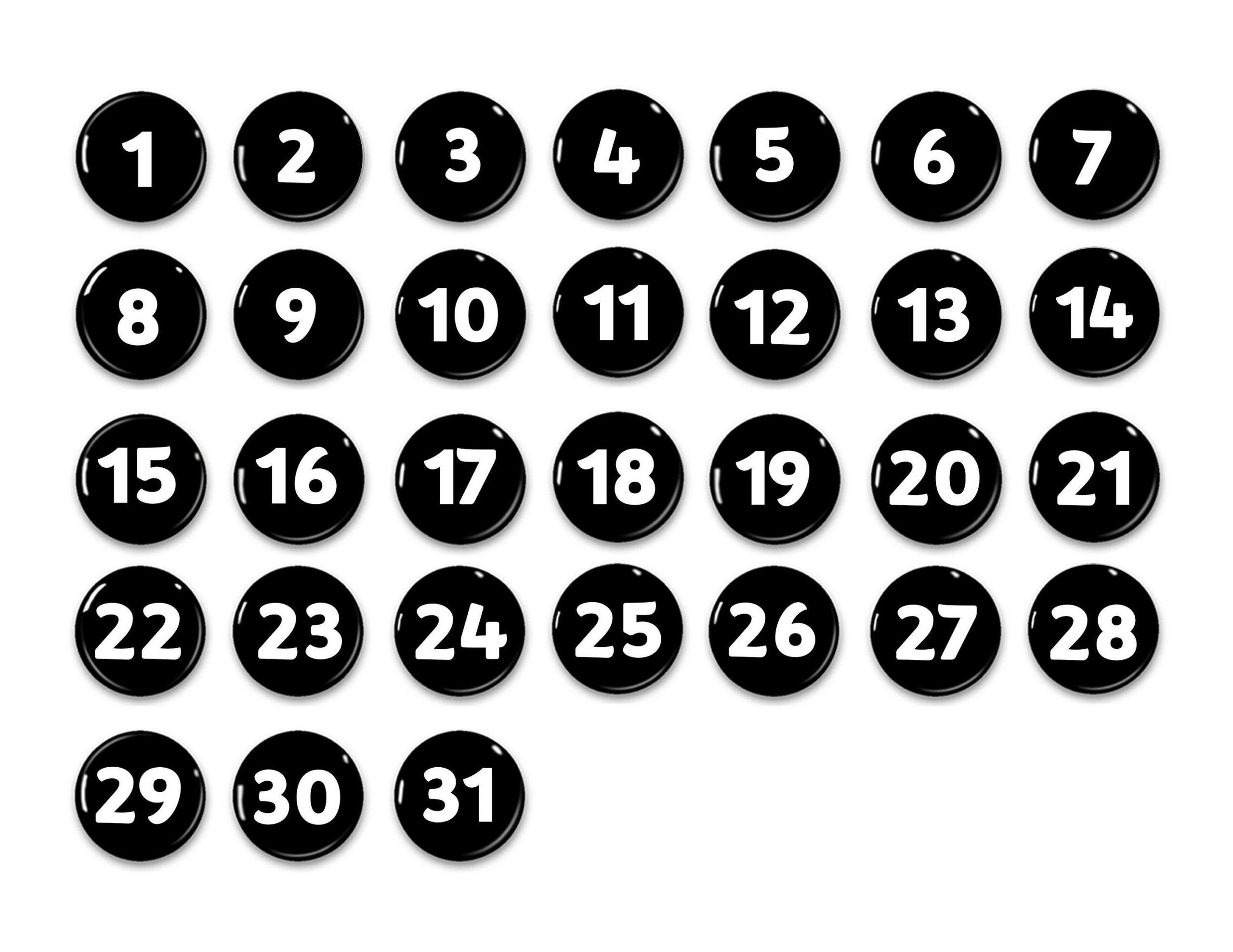Pick Free Printable Calendar Numbers 1 31