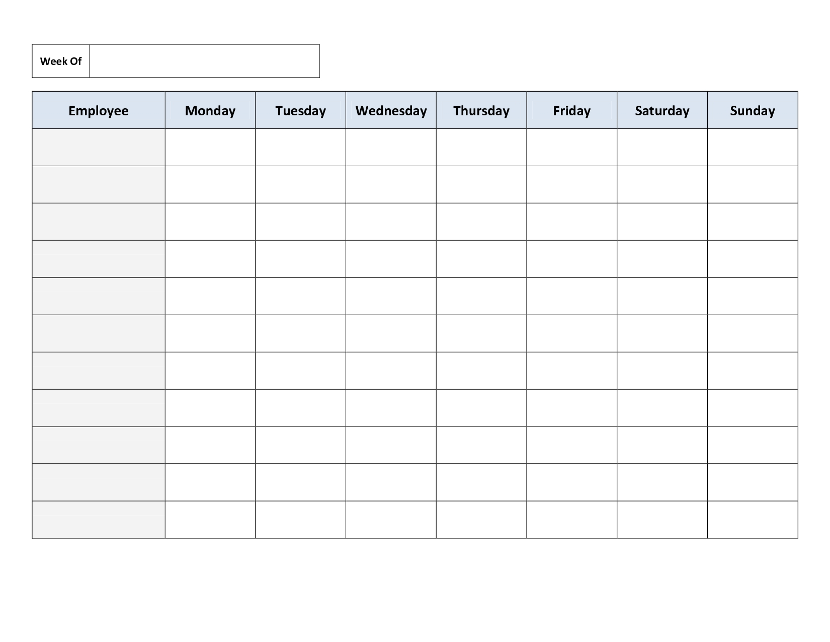 Pick Free Printable Employee Work Schedules