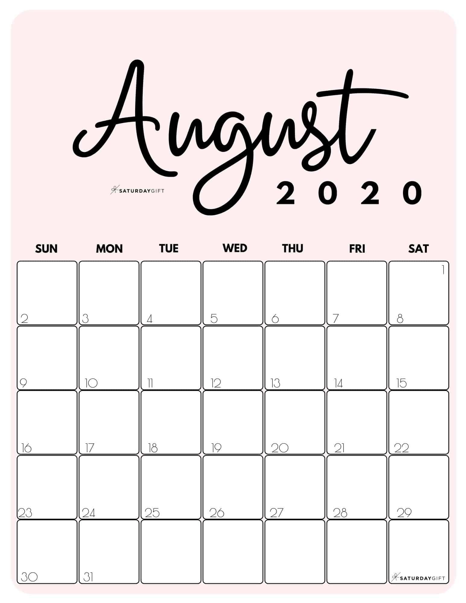 Pick Free Printable Monthly 2021 Calendar Pdf August