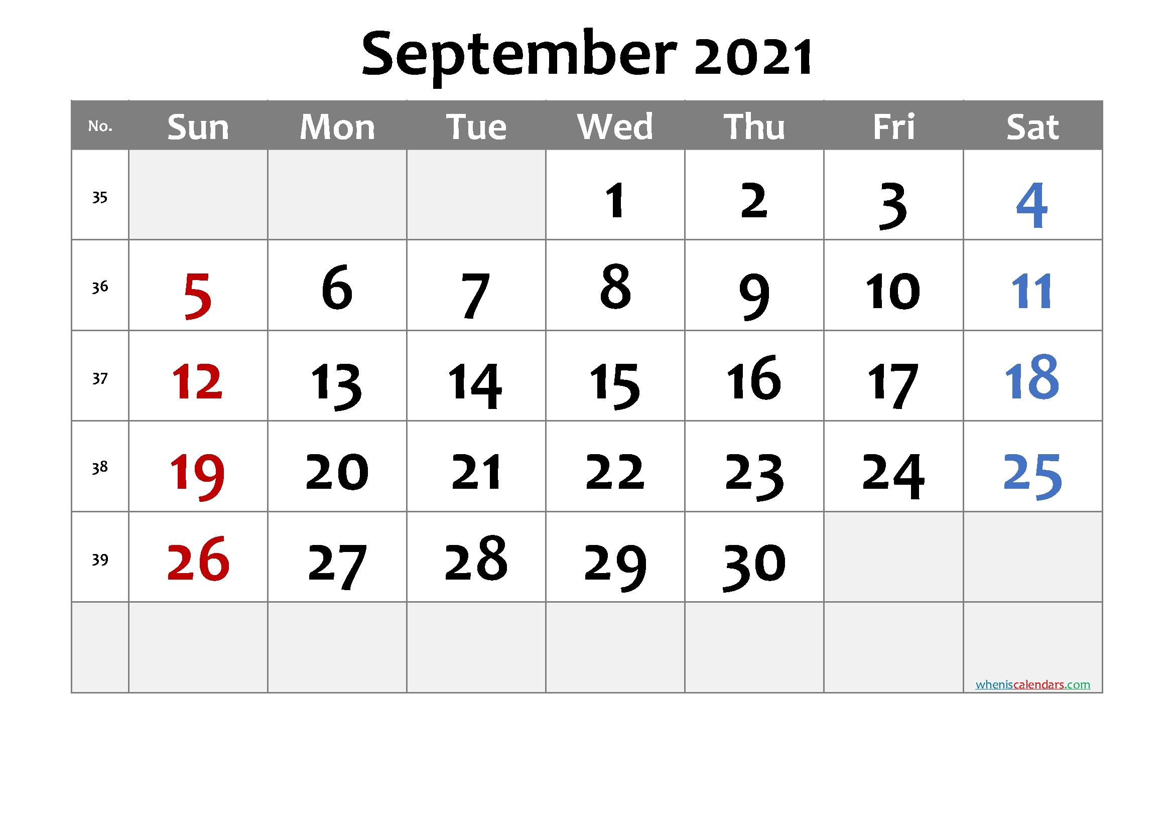 Pick Free Printable Monthly Calendar September 2021