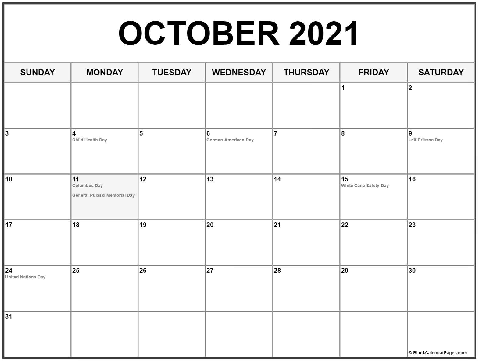 Pick Free Printable October 2021 Calendar
