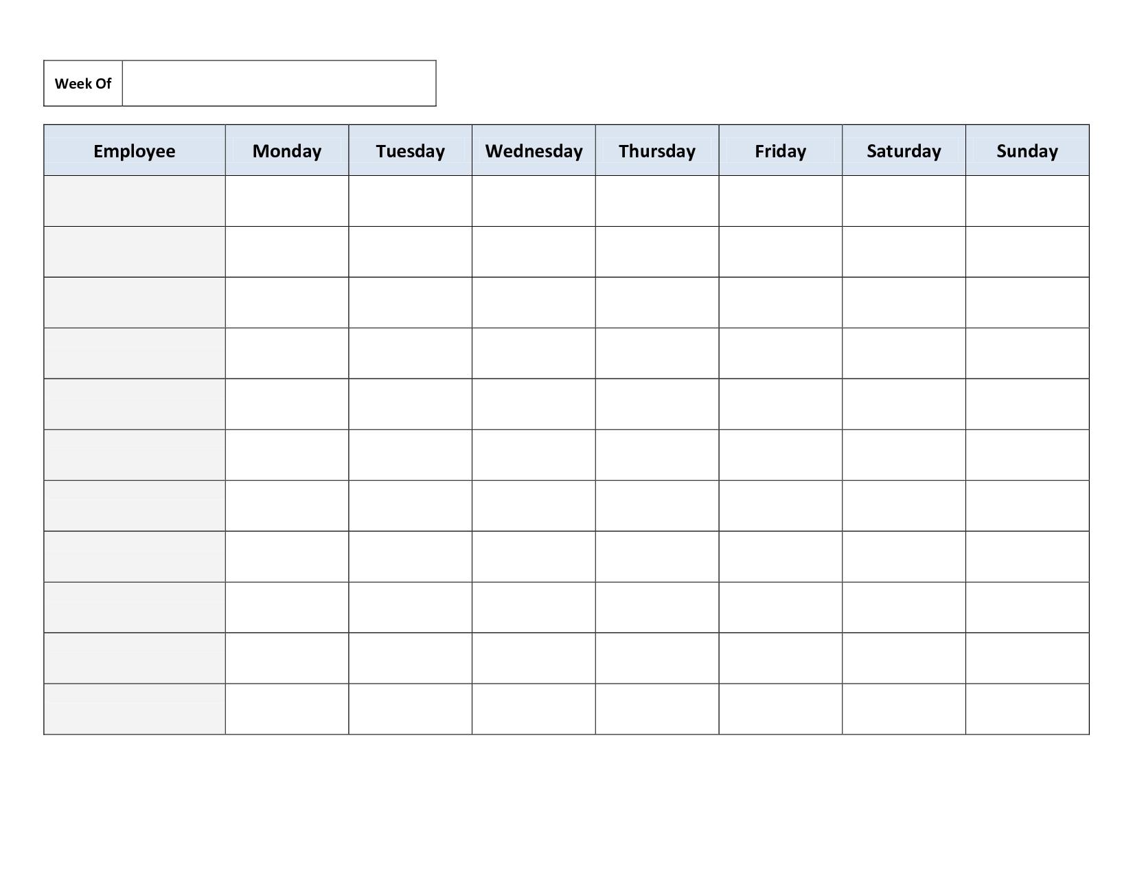 Pick Free Printable Weekly Schedule Template