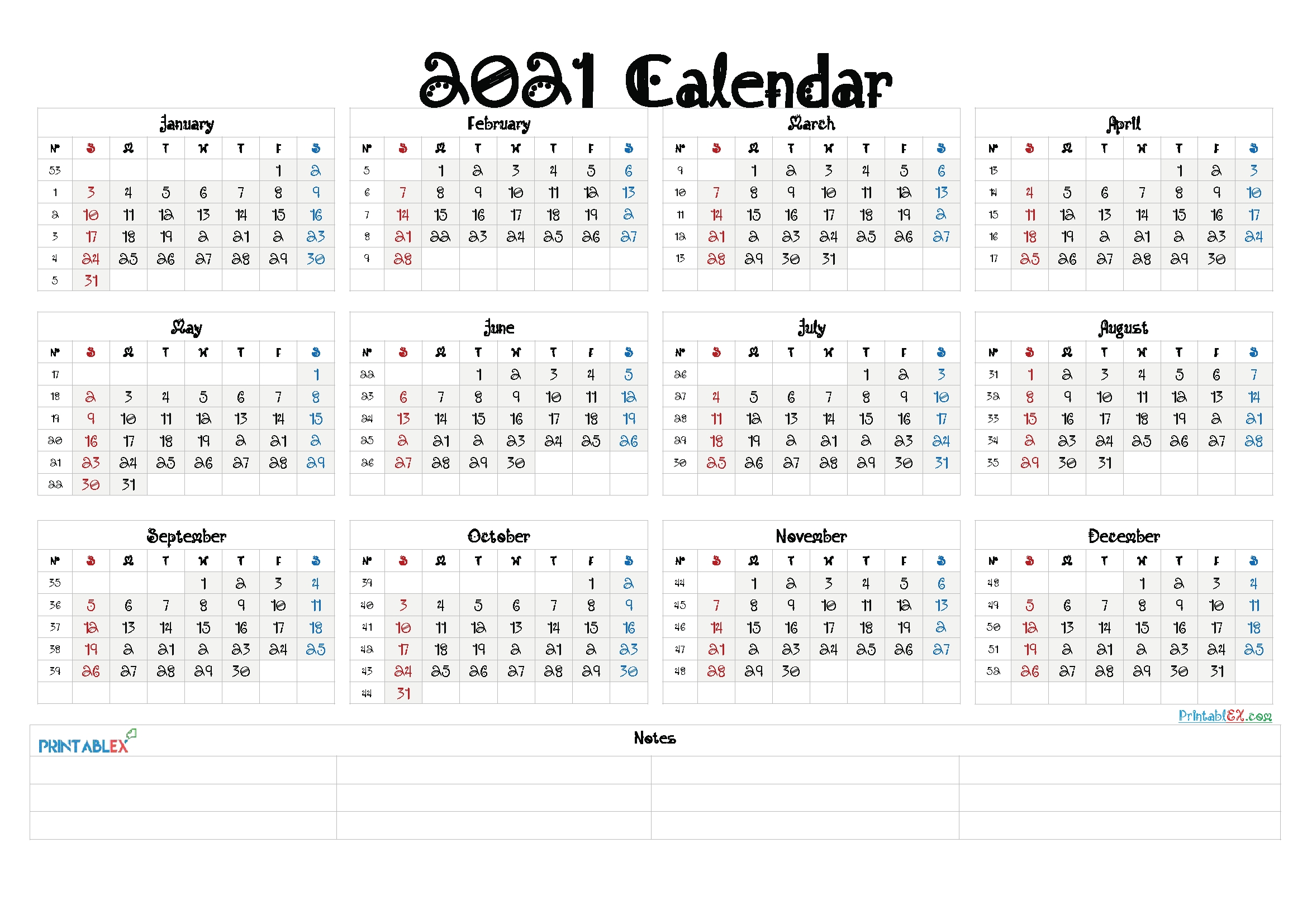 Pick Free Printable Yearly Calendar 2021