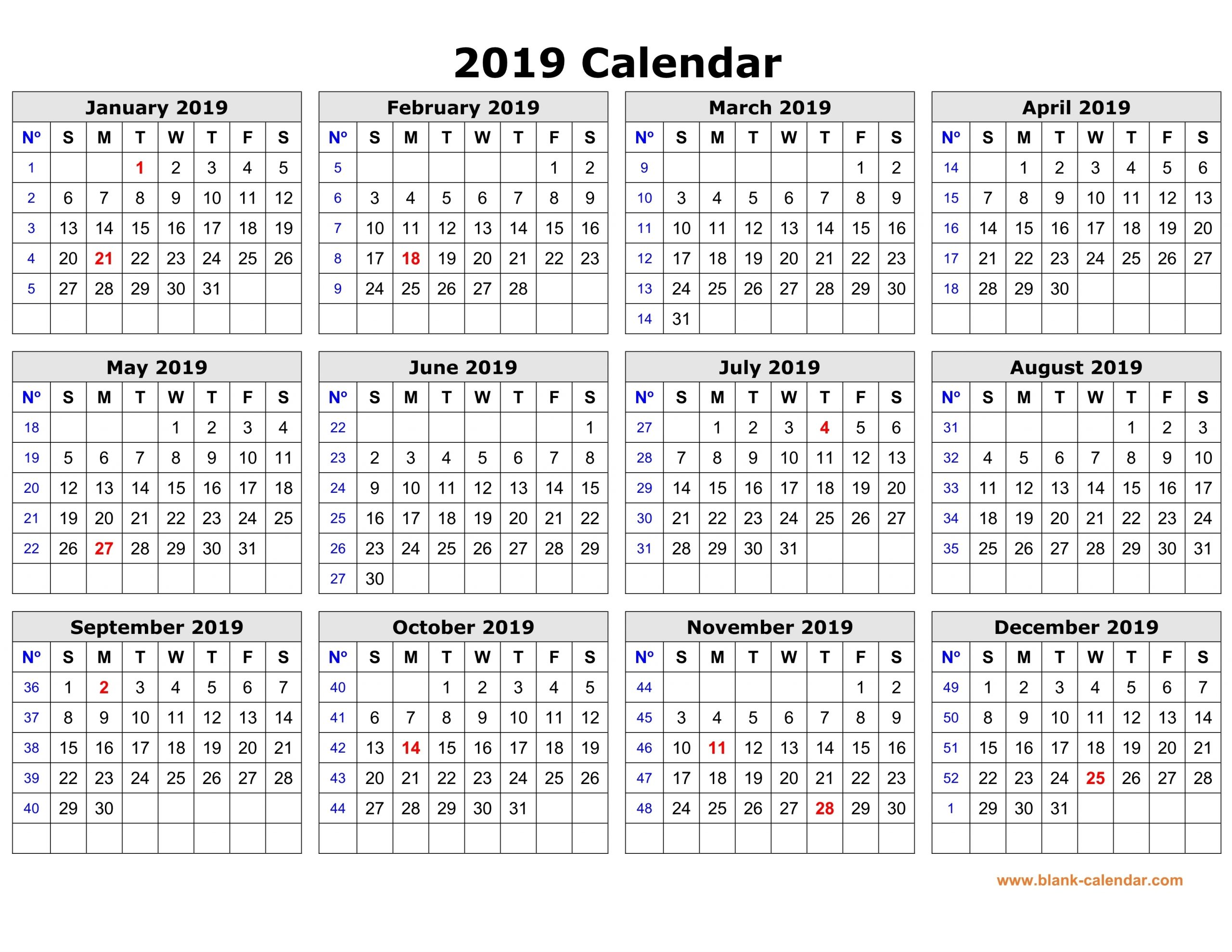 Pick Free Printable Yearly Calendar Without Download