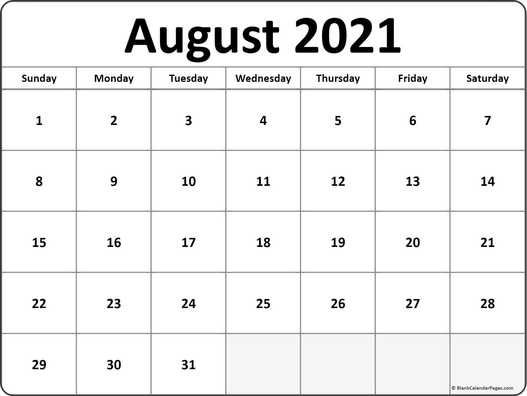 Pick Full Page Calendar For August 2021 Printable