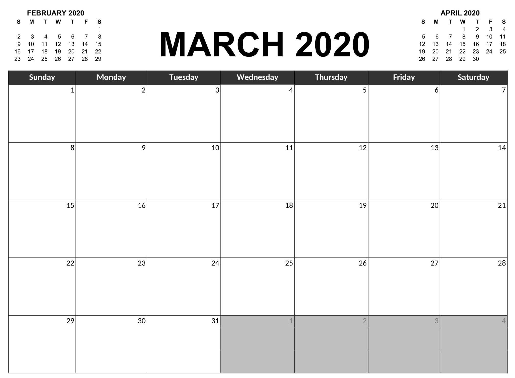 Pick Full Size Blank Printable Calendar