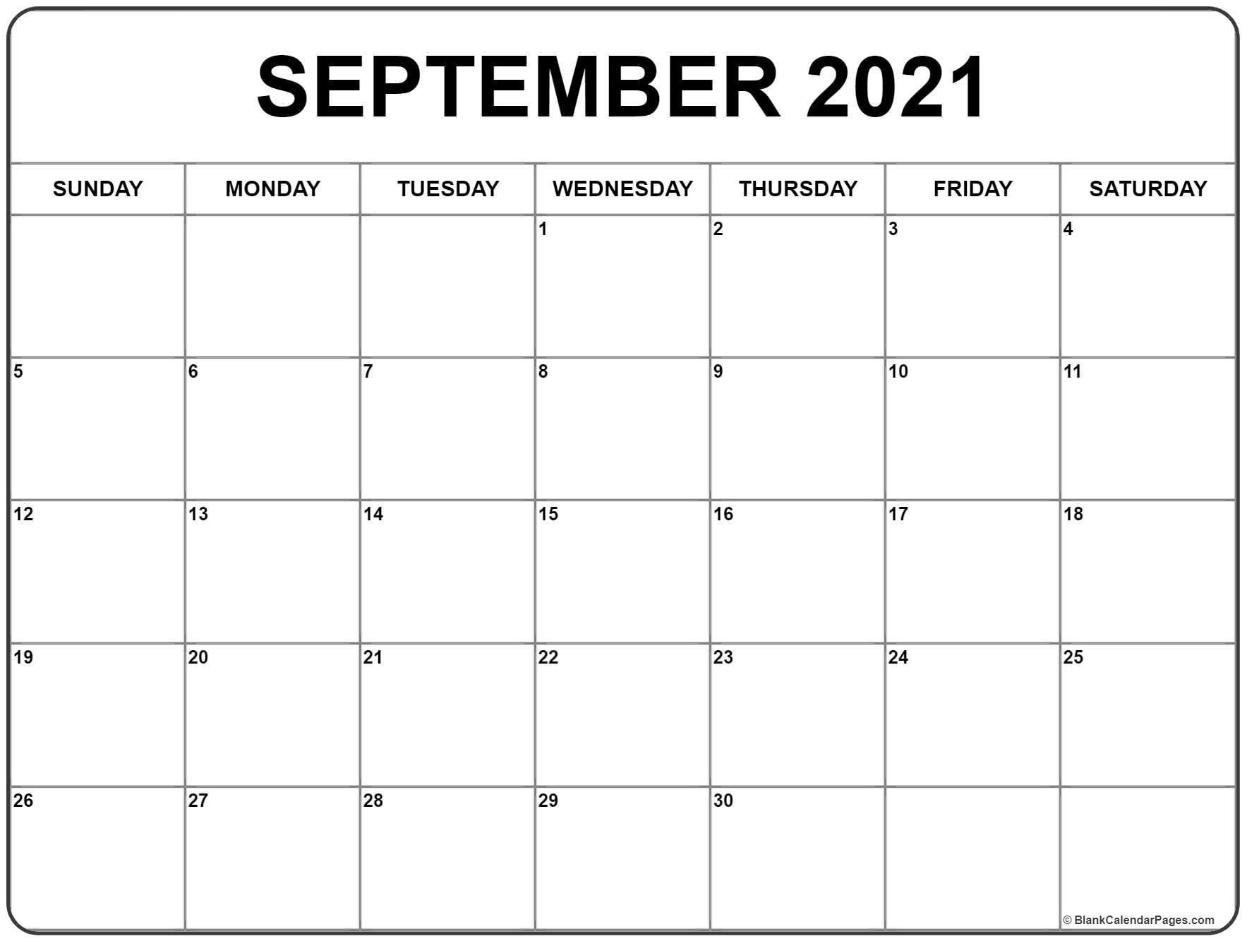 Pick Full Size September 2021 Calendar Printable