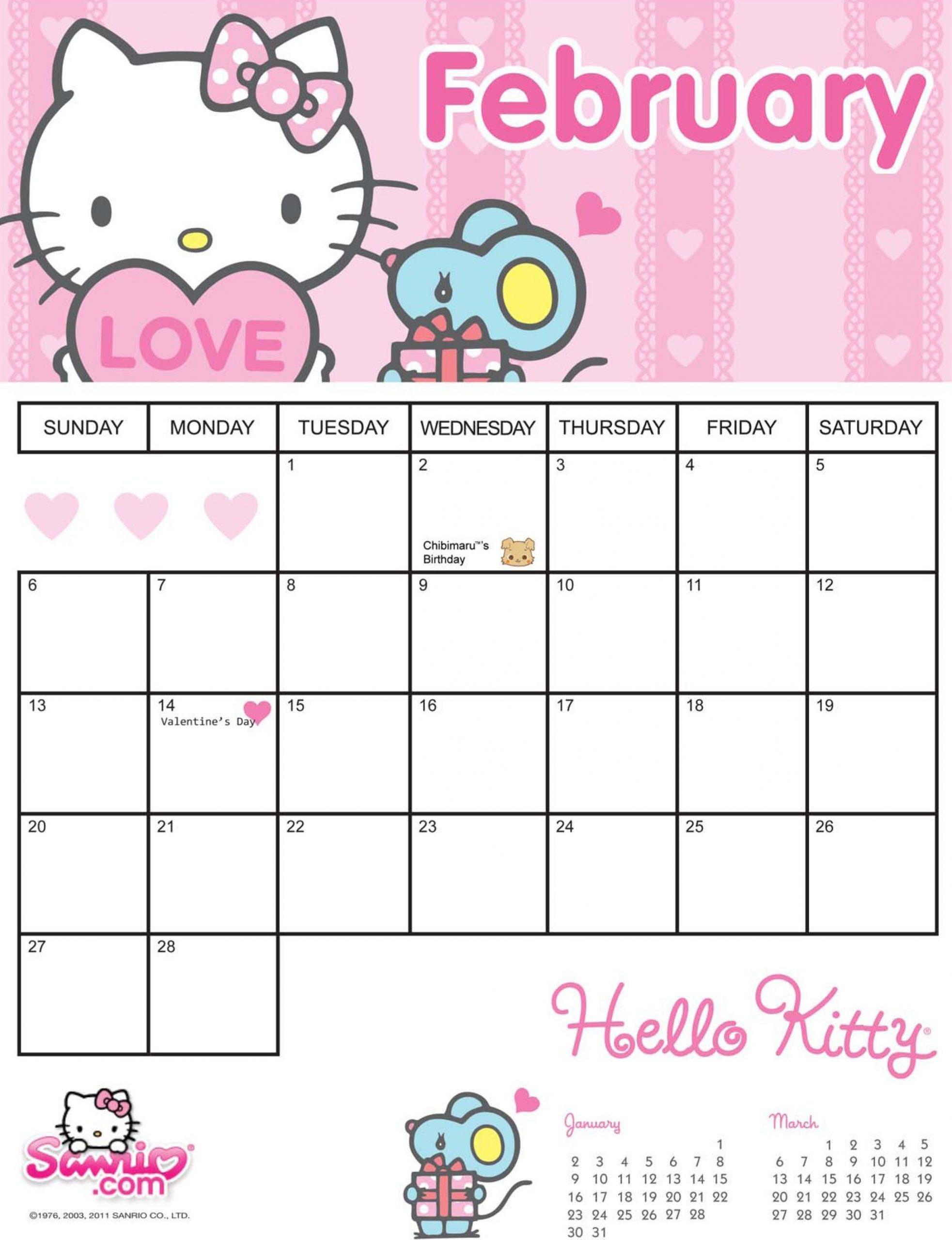 Pick Hello Kitty 2021 June Printable Calendar Page