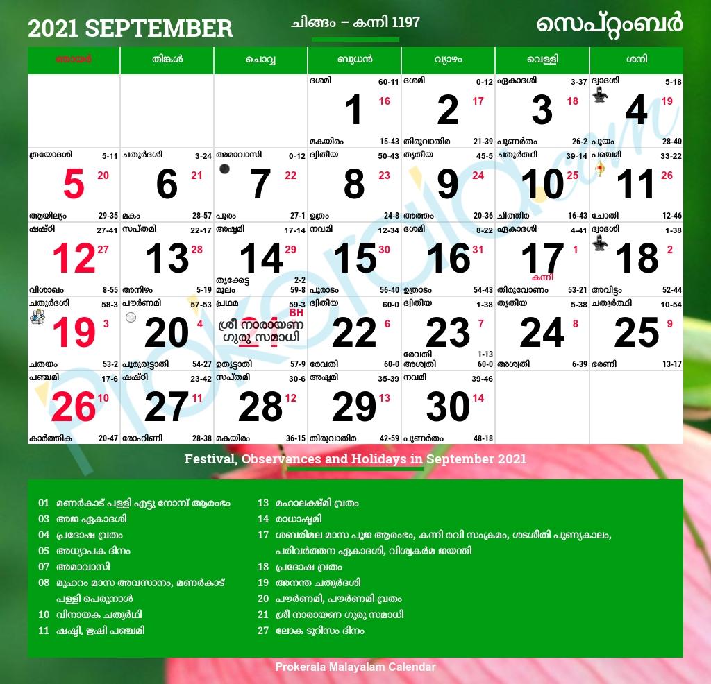 Pick Hindu Calendar 2021 September