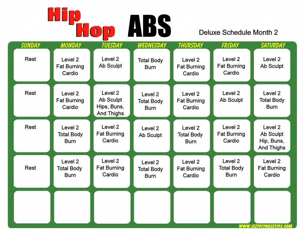 Pick Hip Hop Abs Calendar Printable