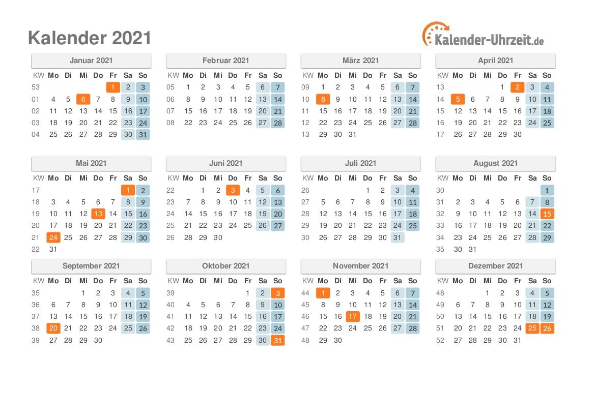 Pick Jahreskalender 2021 Deutsch