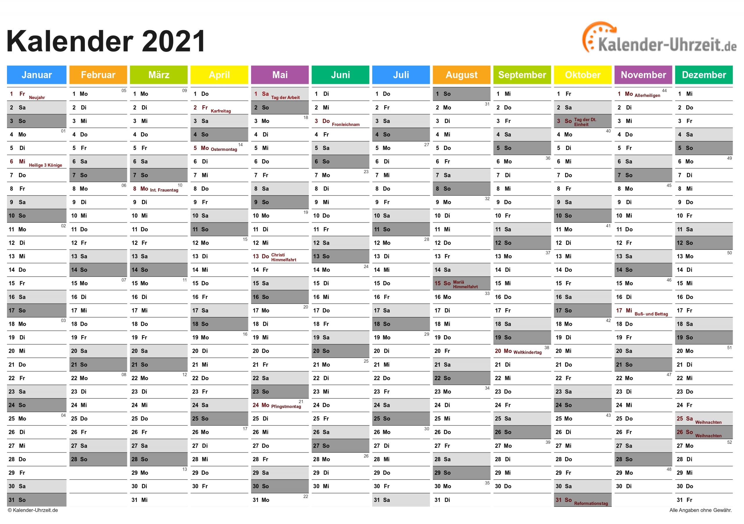 Pick Jahresübersicht 2021 Zum Ausdrucken