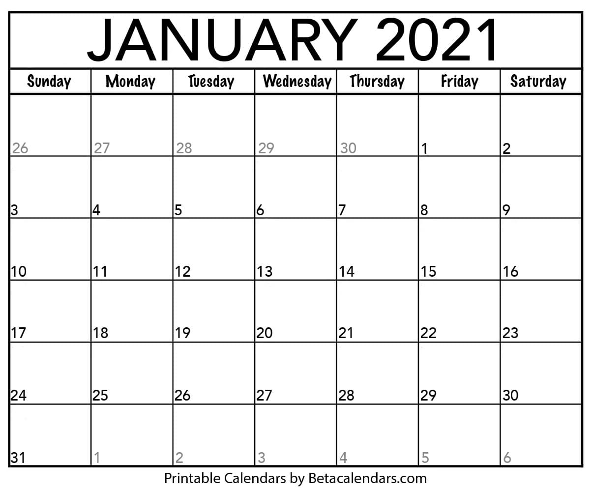 Pick January 2021 Blank Calendar Motivated