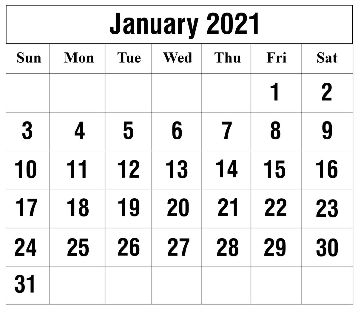 Pick January 2021 Calendar Printable Org
