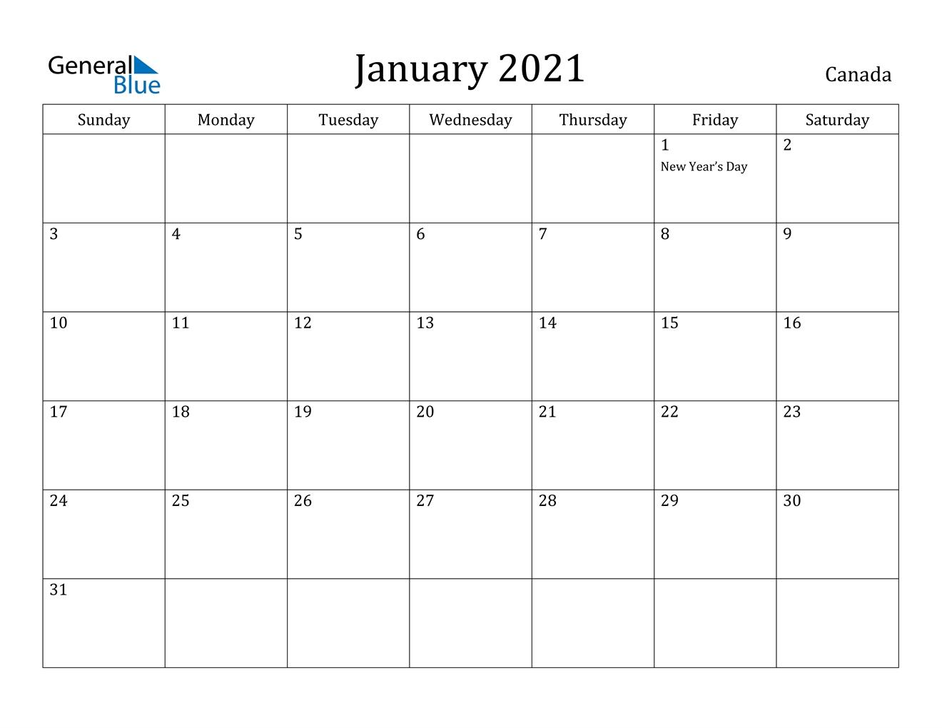 Pick January 2021 Calendar