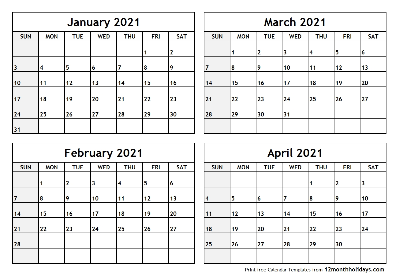 Pick January February March April 2021 Calendar Printable