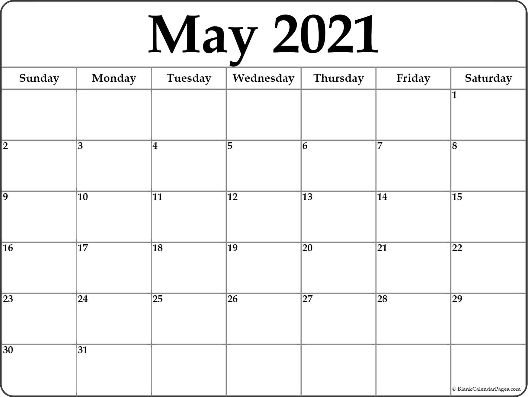 Pick January Through May 2021 Calendar