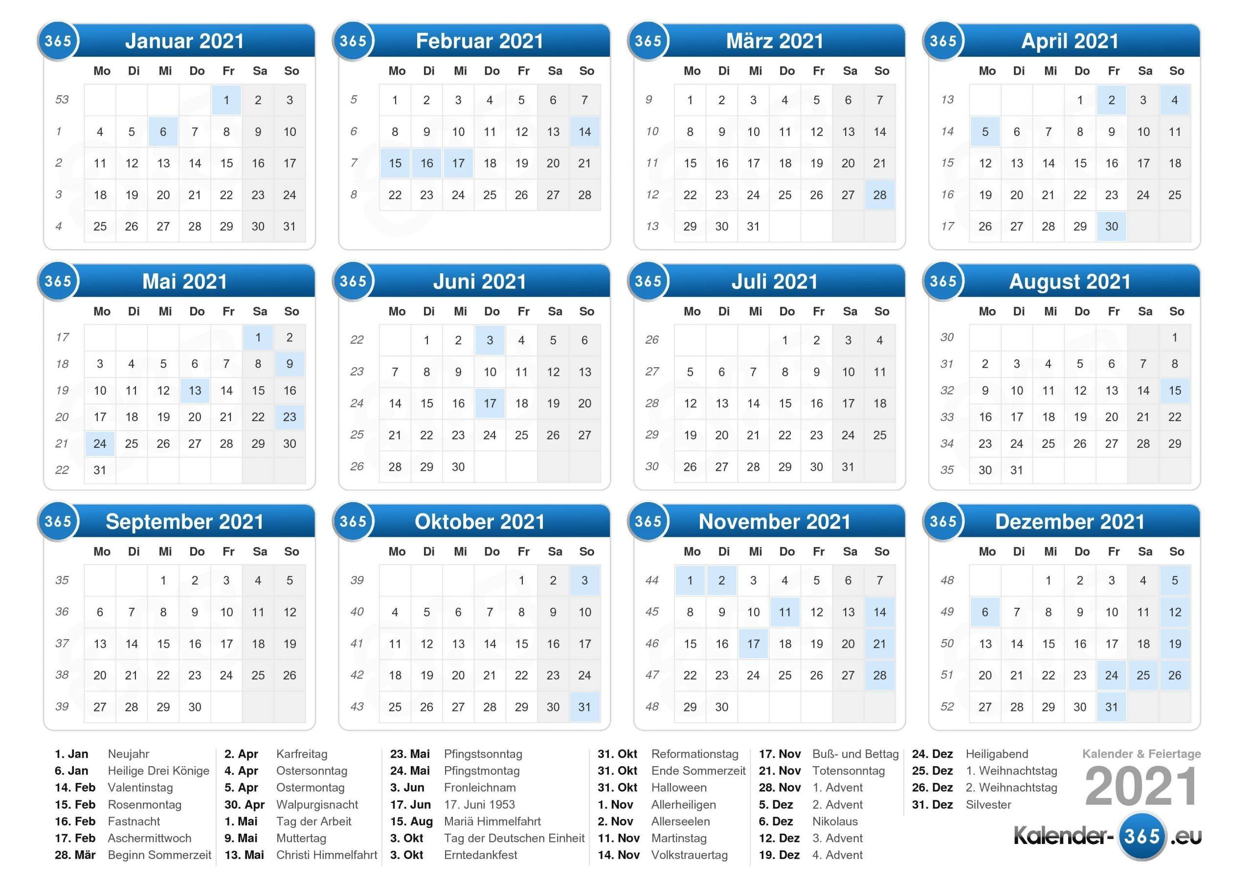 Pick Juli – Dezember Kalender 2021 Deutsch