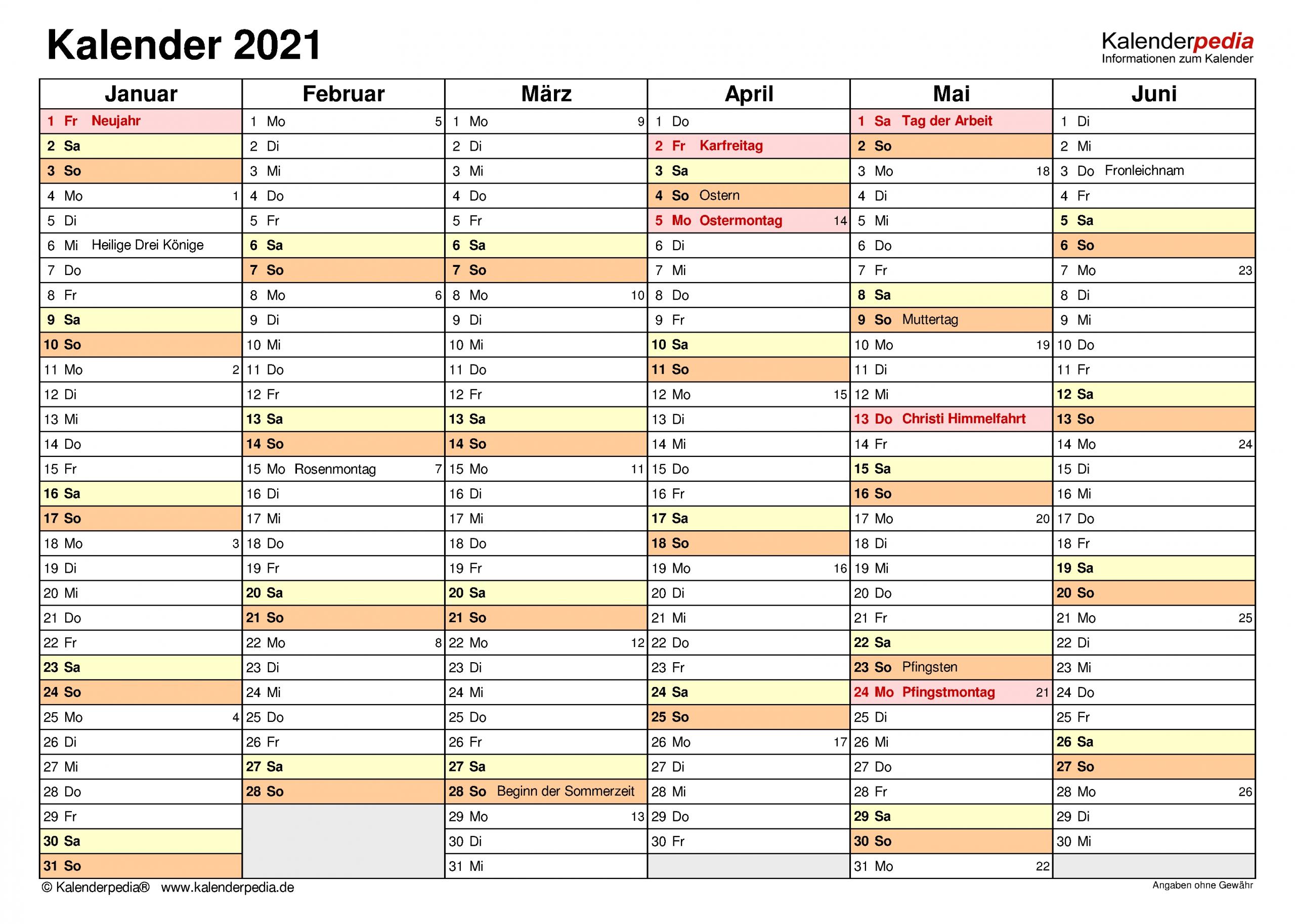 Pick Juli - Dezember Kalender 2021 Deutsch