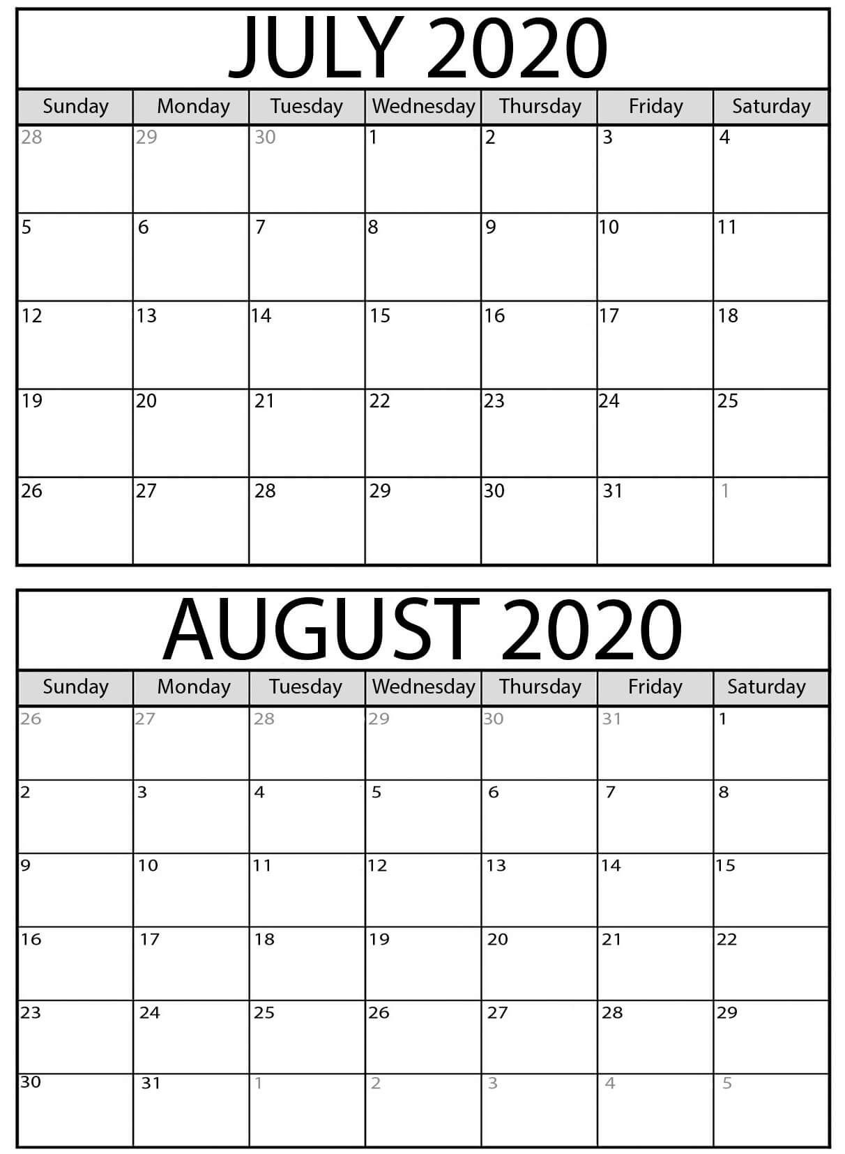 Pick July Calendar And August