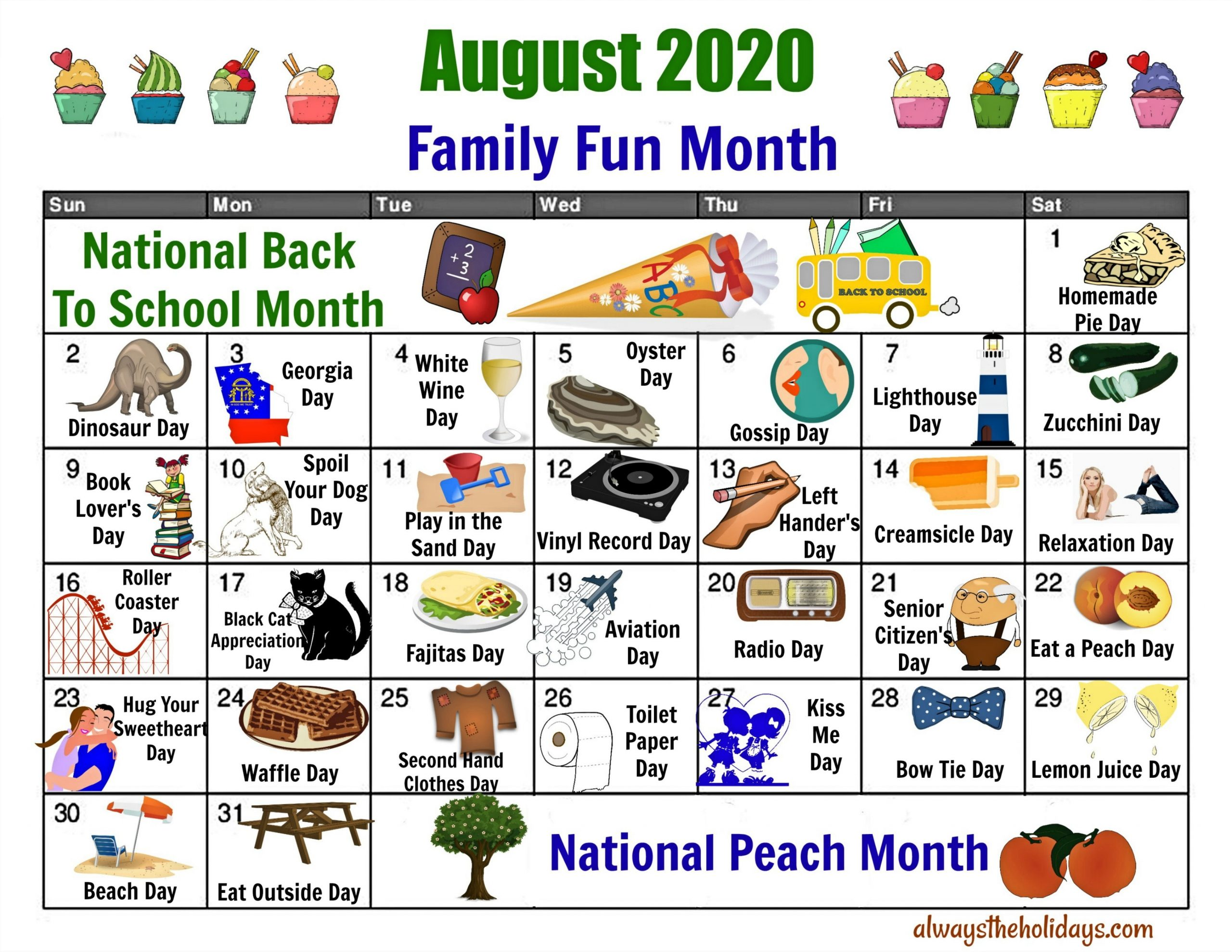 Pick July National Day Calendar 2021 Printable