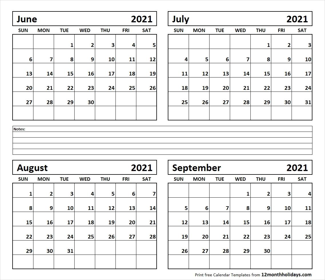 Pick June To September 2021 Calendar